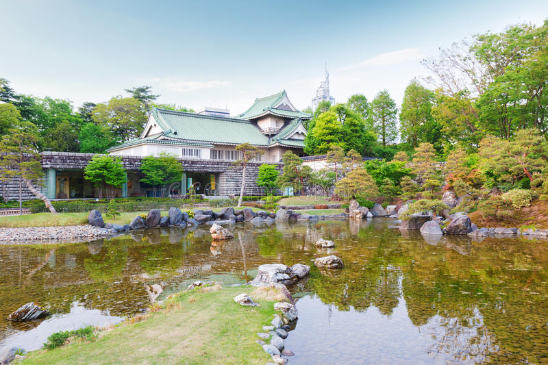 Toyama castle with beautiful garden and reflection in water. Toyama castle historic landmark in toyama city japan with beautiful garden and reflection in water stock photos