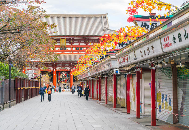 Toyko,日本- 2016年11月16日:在Nakamise Dori的游人步行 库存照片