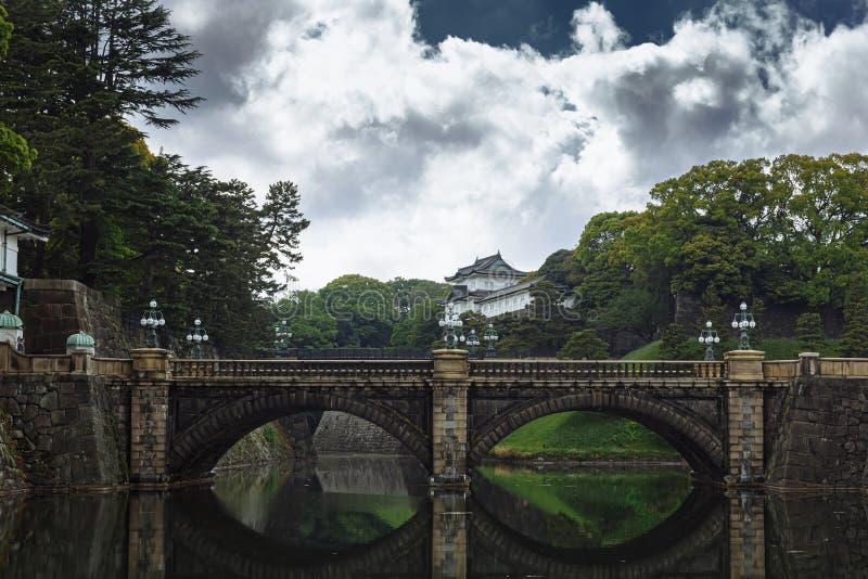 Toyo, Japen - April, 25, 2019: Keizerpaleis - Keizerpaleis met Nijubashi-Brug in Tokyo, Japan royalty-vrije stock afbeelding