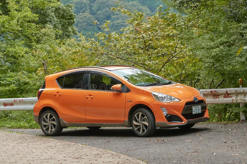 Toyota Aqua Hybrid car stock photo
