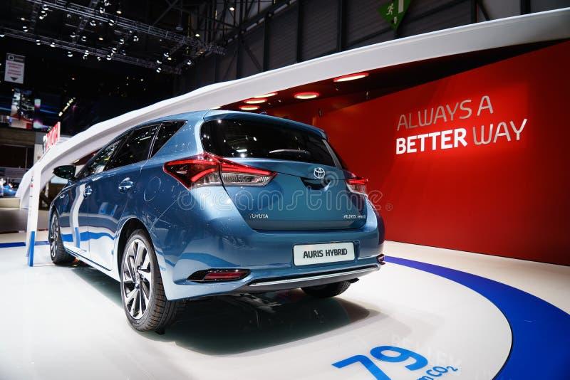 Toyota Auris motorisk show Geneve 2015 royaltyfri foto
