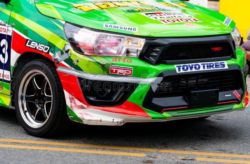 Toyota-autorennen op renbaan in Bangsaen Grand Prix 2018 dichtbij Bangsaen-strand in Thailand stock foto