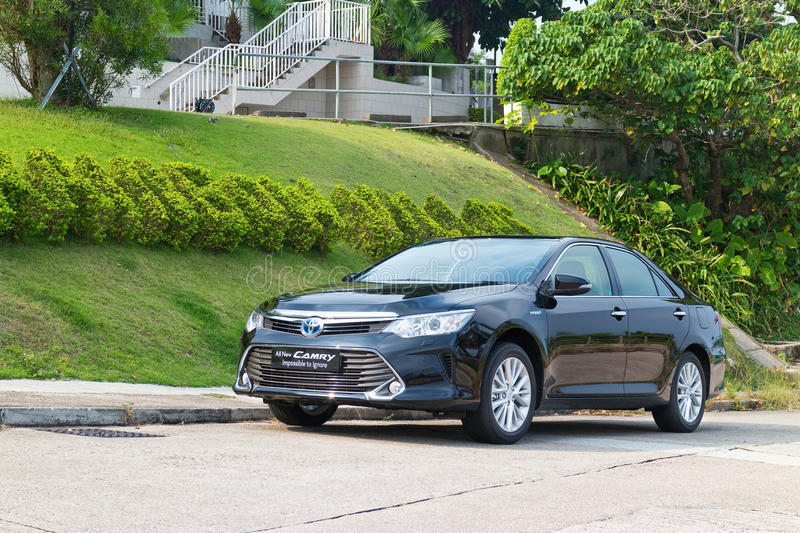 Toyota Camry Hybrid 2014 test Drive. Hong Kong, China Oct 27, 2014 : Toyota Camry Hybrid 2014 test drive on Oct 27 2014 in Hong Kong stock images