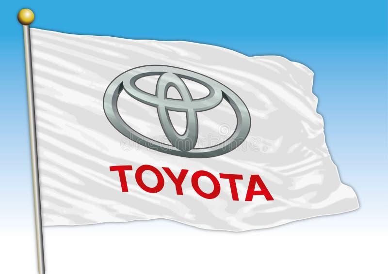 Toyota cars international group, flags with logo, illustration stock illustration