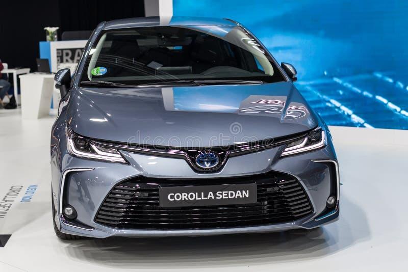 Toyota Corolla Sedan p? bilen Barcelona 2019 arkivfoton