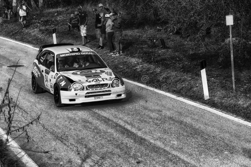 TOYOTA COROLLA WRC 1997 nel vecchio raduno della vettura da corsa LA LEGGENDA 2017 fotografia stock libera da diritti
