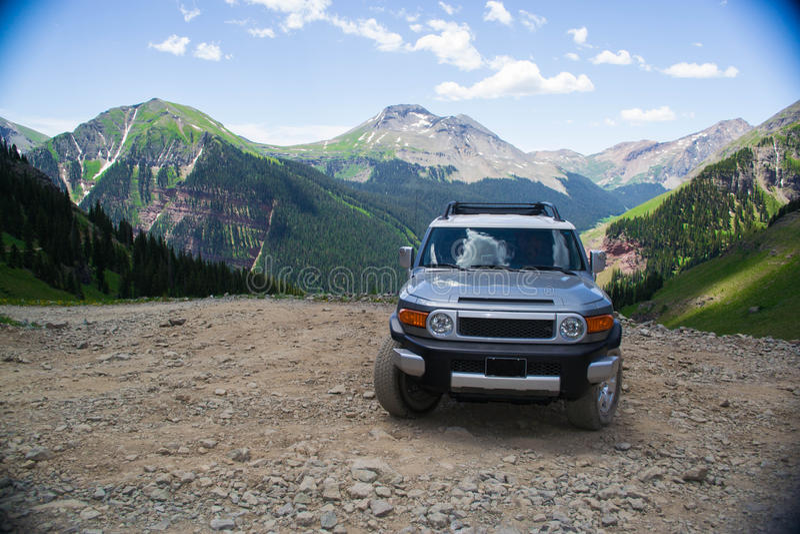 Toyota on the mountains royalty free stock photos
