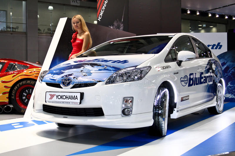 Toyota Prius. MOSCOW - AUGUST 25: Toyota Prius at the international exhibition of the auto and components industry, Interauto on August 25, 2011 in Moscow stock images