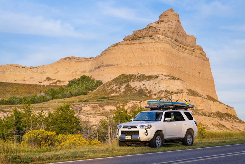 Toyota 4runner at Scotts Bluff National Monument royalty free stock photography