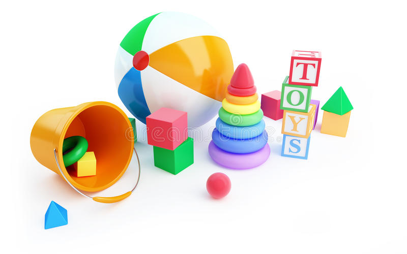 Download Toys Alphabet Cube, Beach Ball, Pyramid Stock Illustration - Illustration of colorful, multicolored: 28469865
