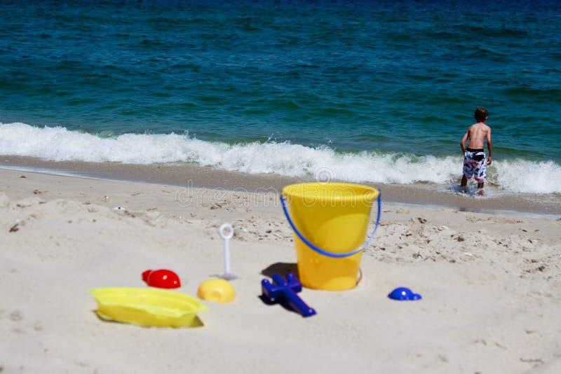 Toys on a beach royalty free stock photo