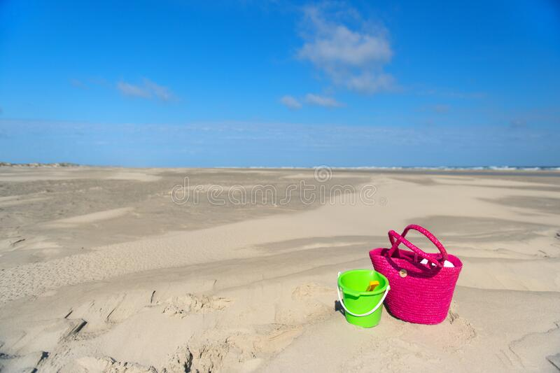 Toys at the beach stock images