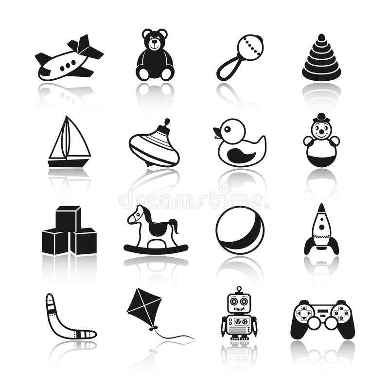 Toys Black Icons Set. Black and white kid children toys icons set of airplane teddy bear rattle pyramid isolated vector illustration vector illustration