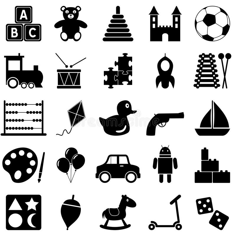 Toys Black and White Icons. Collection of 25 black and white icons representing toys for kids, isolated on white background. Eps file available vector illustration