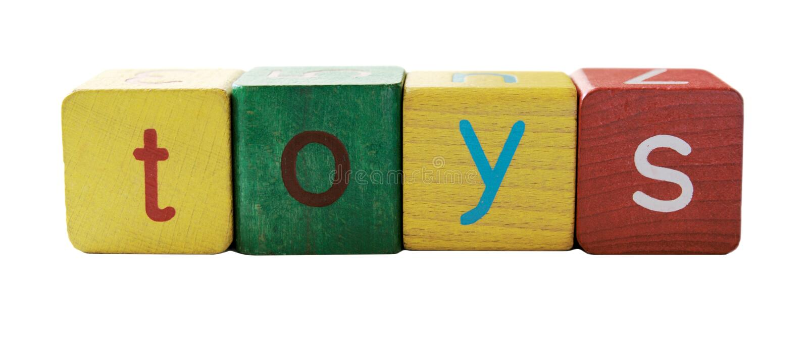 'toys' in block letters stock photos