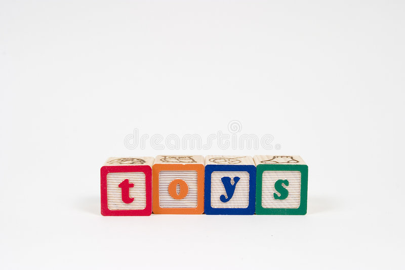 Toys in block letters stock photos