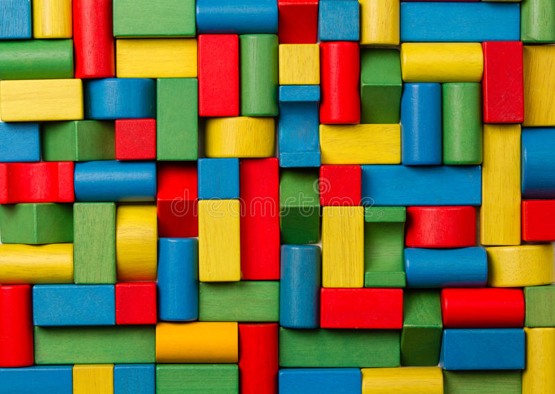 Toys blocks, multicolor wooden bricks, group colorful building stock image