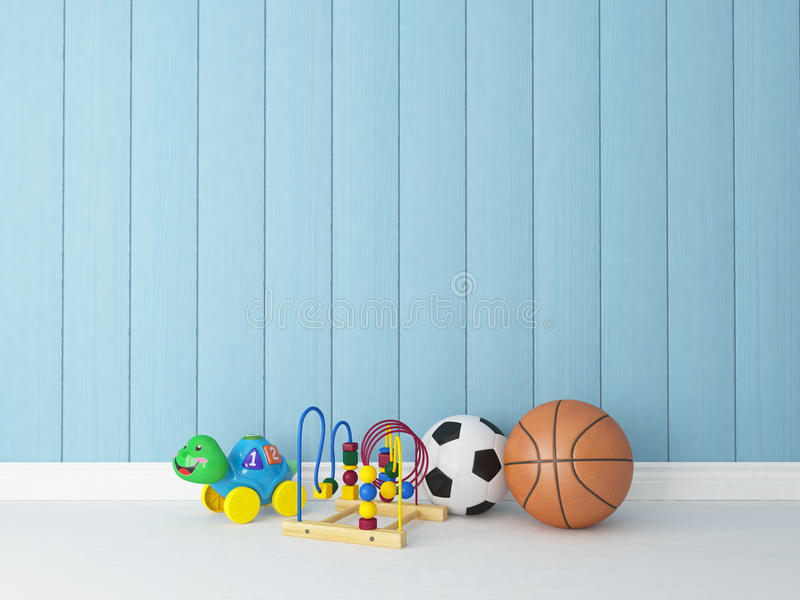 Toys with blue wooden background royalty free illustration