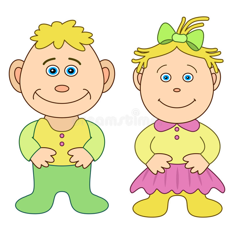 Toys, boy and girl. Toys, children's, little boy and little girl, isolated vector illustration