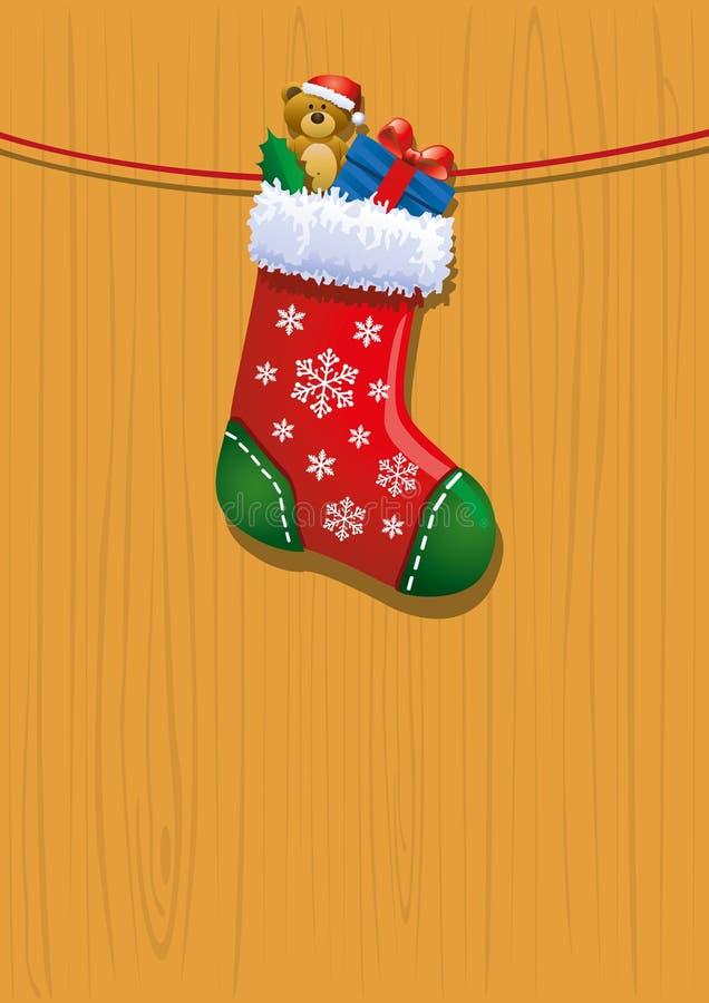Toys in Christmas stocking stock illustration
