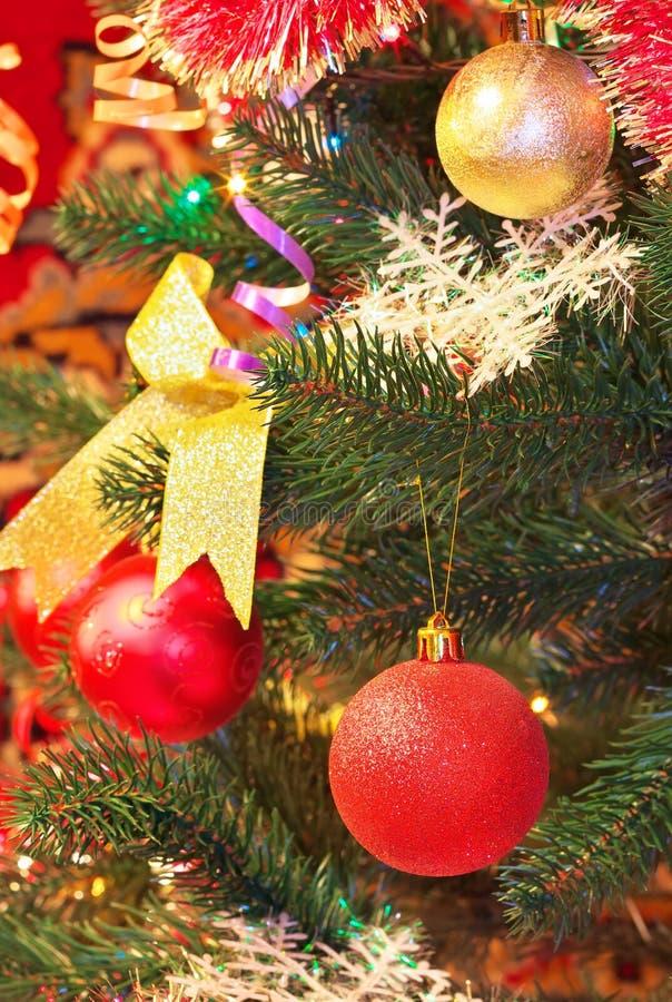 Toys on the Christmas tree. Christmas Decorations on a Christmas Tree. Toys on the Christmas tree royalty free stock photo