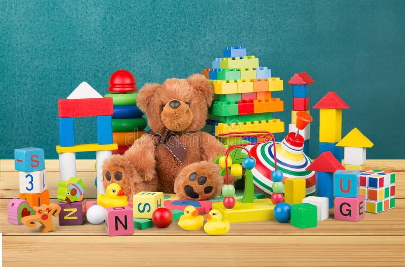 Toys. Collection soft preschool closeup educational stock photography