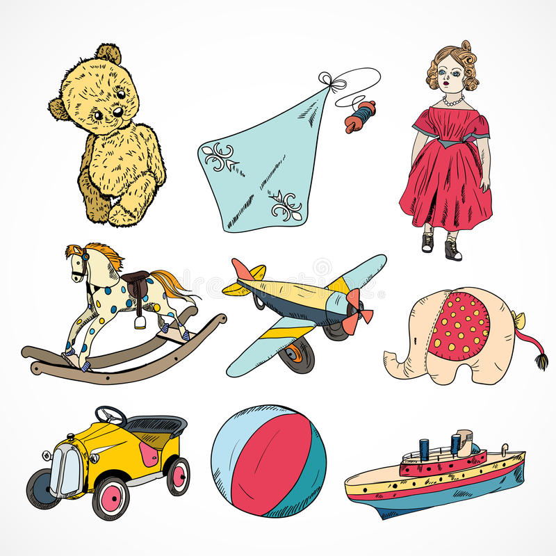 Download Toys Colored Sketch Icons Set Stock Vector - Illustration of childhood, drawn: 39502763