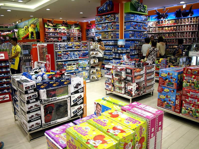 Toys on display in a toy store in SM City mall in Taytay City, Philippines. TAYTAY CITY, PHILIPPINES - JULY 15, 2017: Toys on display in a toy store in SM City stock images