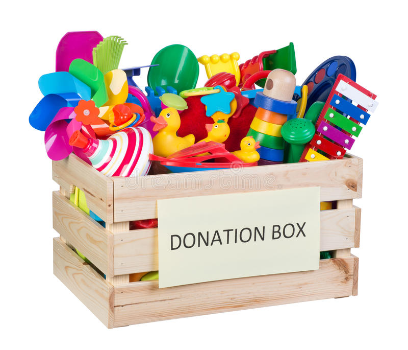 Toys donations box royalty free stock images
