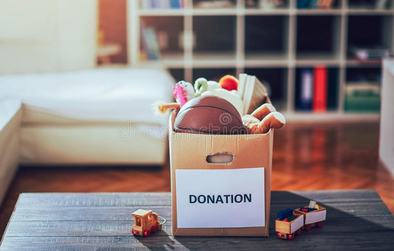 Toys donations box stock photo