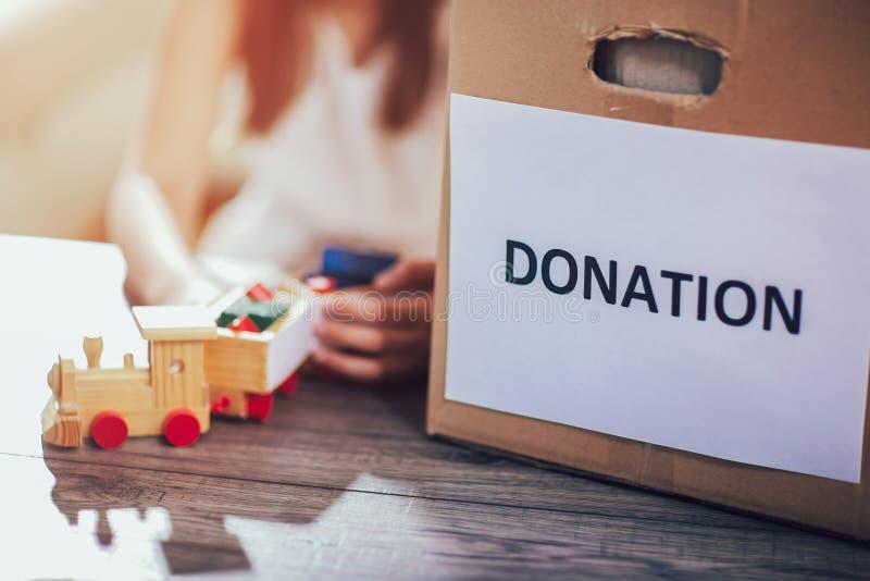 Toys donations box royalty free stock photos