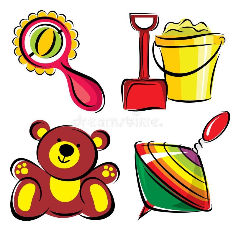 toys för barn s stock illustrationer