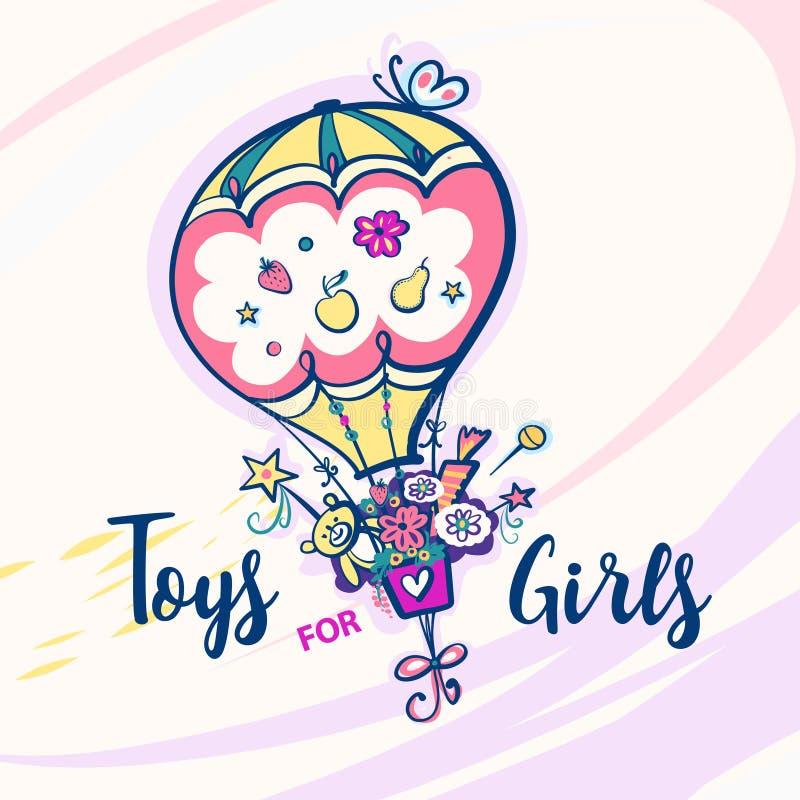 Toys för flickor Färgballong med fjärilen vektor illustrationer