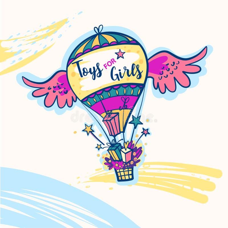 Toys för flickor Färgballong med två vingar vektor illustrationer