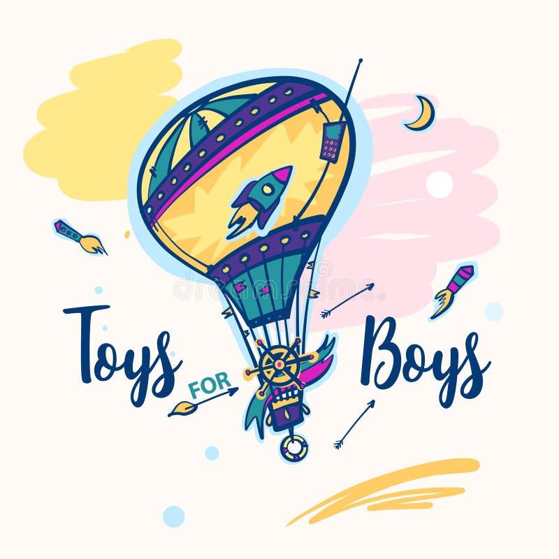 Toys för pojkar Färgballongen för unge shoppar stock illustrationer