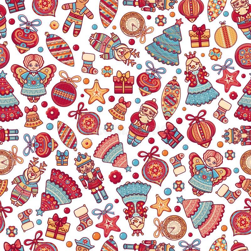 toys för spheres för bakgrundsjul exponeringsglas vita isolerade seamless modell bakgrundsfärger semestrar röd yellow Mest bra fö royaltyfri illustrationer