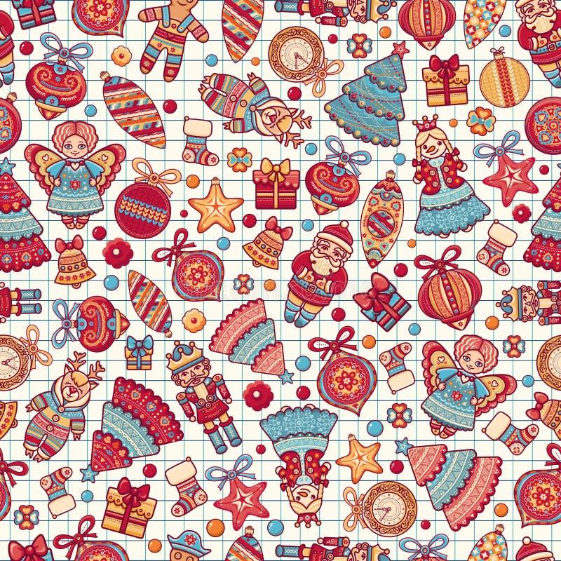 toys för spheres för bakgrundsjul exponeringsglas vita isolerade seamless modell bakgrundsfärger semestrar röd yellow Mest bra fö stock illustrationer