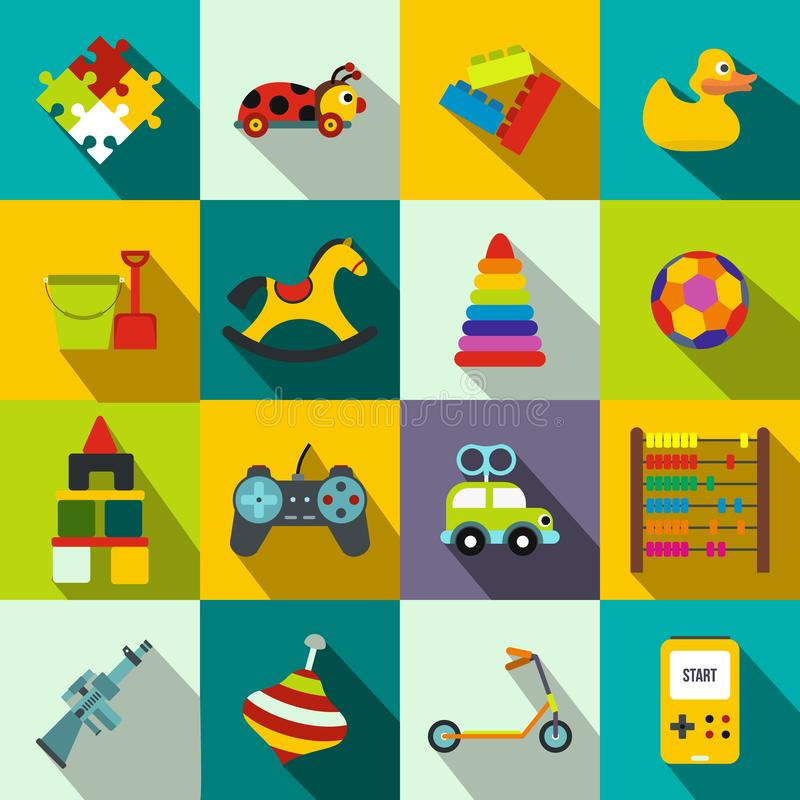 Toys flat icons set. For web and mobile devices stock illustration