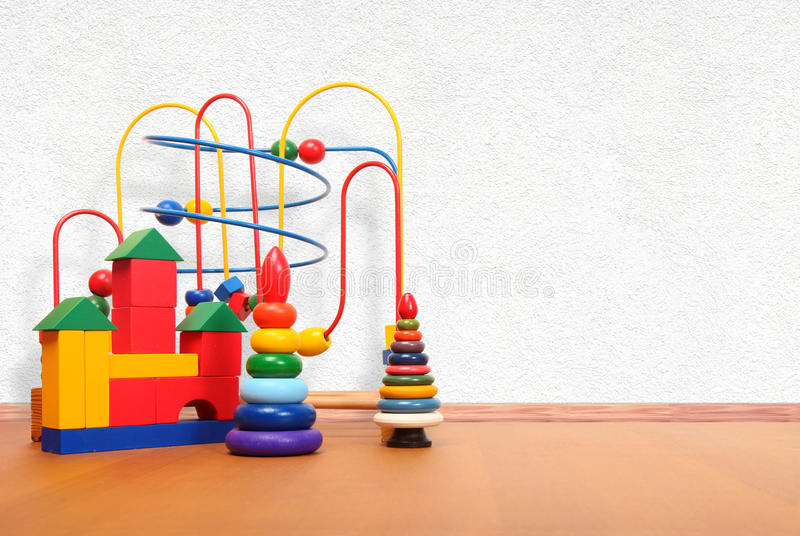 Toys on the floor stock photography