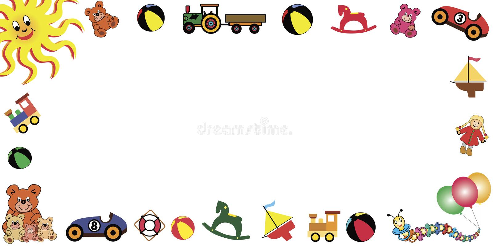 Download Toys frame horizontal stock vector. Image of carnival - 4502746