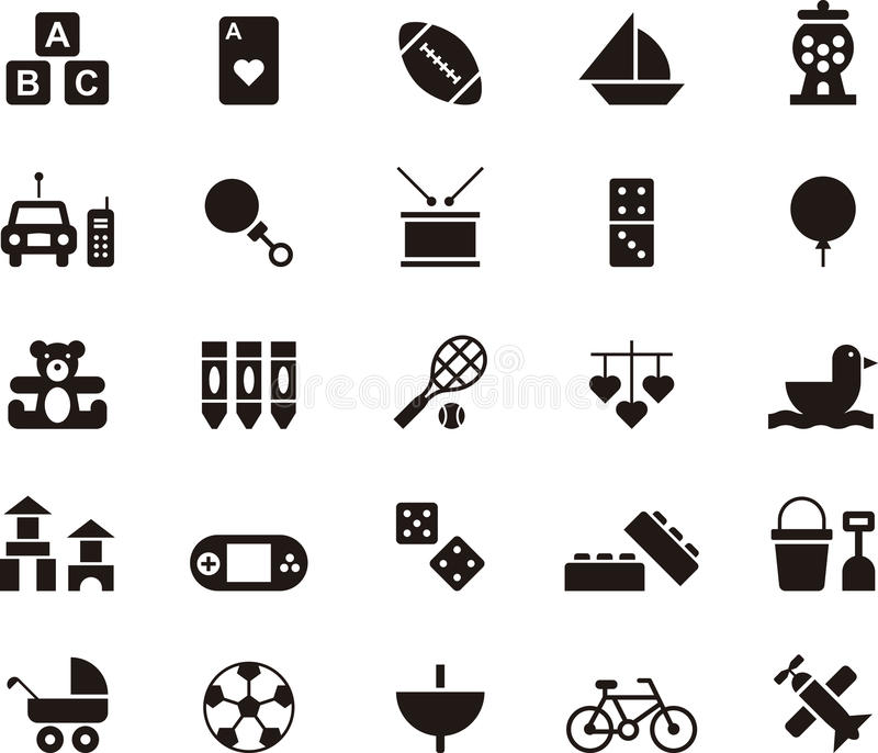 Toys and games icon set stock illustration