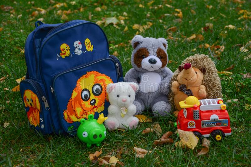 Toys. From backpack royalty free stock photo