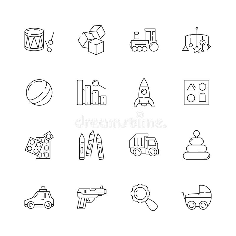 Toys icon. Games cars bear rattle vector funny items for kids vector illustration