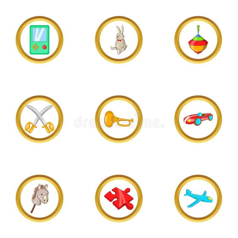 Toys icon set, cartoon style. Toys icon set. Cartoon set of 9 toys vector icons for web isolated on white background stock illustration