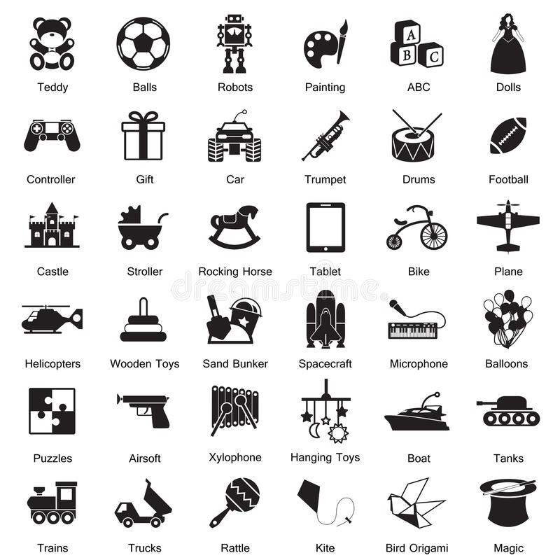 Toys icon set stock illustration