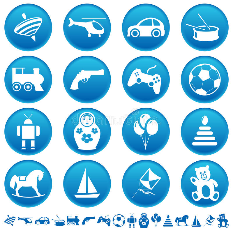 Download Toys icons stock vector. Image of balloons, percussion - 21345973