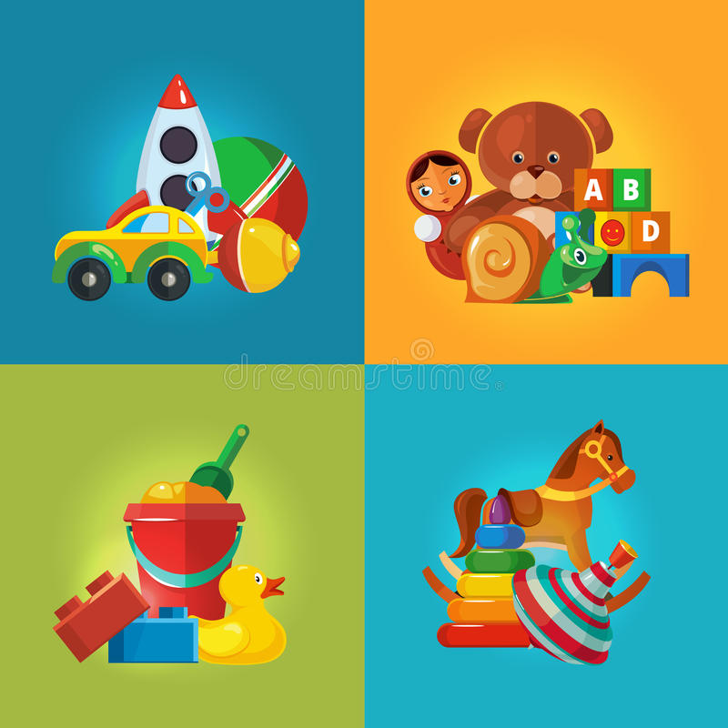 Toys icons for kids stock illustration
