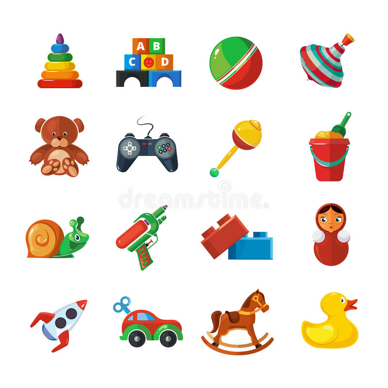 Toys icons for kids isolate on white background. royalty free illustration