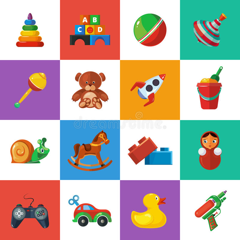 Toys icons for kids isolate on white background. vector illustration