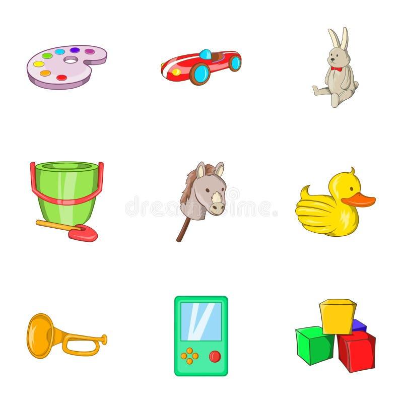 Toys icons set, cartoon style. Toys icons set. Cartoon illustration of 9 toys icons for web royalty free illustration